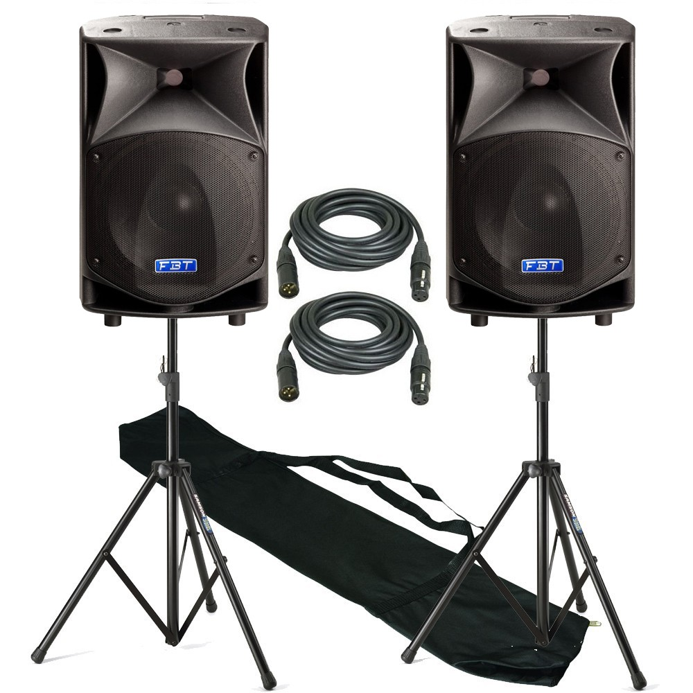 fbt speakers on a stand with leads and bag